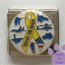 SUPPORT OUR TROOPS Yellow Ribbon Italian Charm Megalink Military