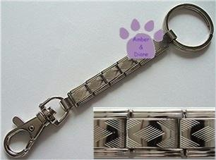 Silver Italian Charm DIAMOND Key Chain ring & hook 5 links