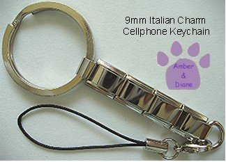 Shiny Silvertone Cell Phone Key Chain with cord and loop