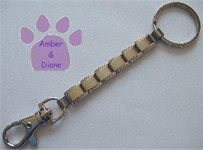 Shiny Silvertone Italian Charm Key Chain ring and hook 6 links