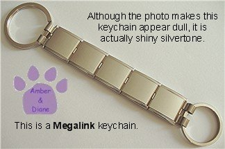 Shiny Silvertone Megalink Keychain 5 links one large & one small loop