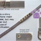 Mesh Italian Charm Bracelet, Shiny Silvertone