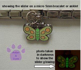 Butterfly Dangle Glow Slider 5mm Italian Charm - Color Changer