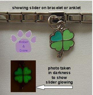 Lucky Clover Dangle Glow Slider 5mm Italian Charm -Color Changer