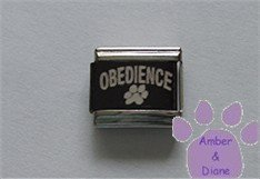 OBEDIENCE All Color Laser Italian Charm with Pawprint