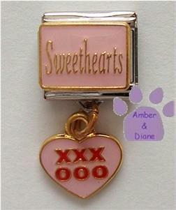 Sweethearts Dangle Italian Charm with XXXOOO in Pink