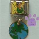 Earth Guardian Angel Enamel Dangle Italian Charm Angel and Globe