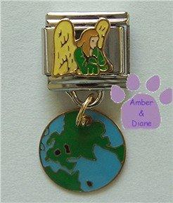 Earth Guardian Angel Enamel Dangle Italian Charm Angel and Globe