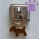 Gold Puppy Dog Italian Dangle Charm