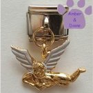 Gold Tone Angel Italian Dangle Charm with White Wings