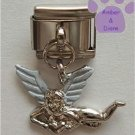 Silver Tone Angel Italian Dangle Charm with White Wings