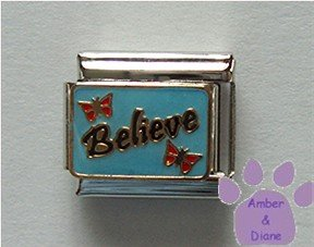 Believe Italian Charm with red Butterflies on blue