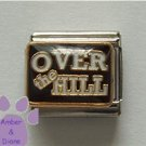 OVER THE HILL Italian Charm on a black enamel background
