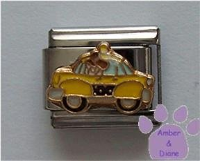 Cute Yellow Taxi Italian Charm for Taxi Cab Driver