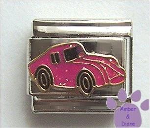 Deep Pink Glitter Corvette Italian Charm Sports Car