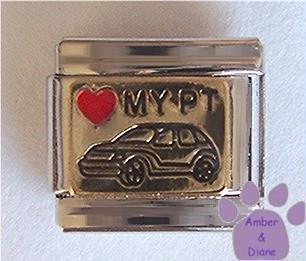 Love MY PT Cruiser Italian Charm Red Heart on Gold Tone