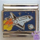 Space Shuttle Craft in the Night Sky Italian Charm with a Planet