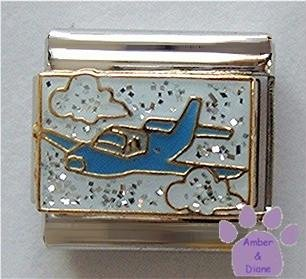 Airplane to Your Holiday Italian Charm on Glitter Background