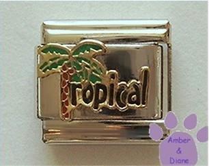 Tropical Palm Tree Italian Charm - Palmtree is letter T