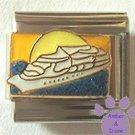White Cruise Ship on Blue Glitter Ocean Italian Charm