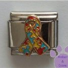 Autism Awareness Support Rainbow Puzzle Ribbon Italian Charm