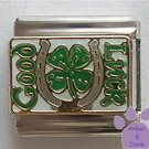 Four Leaf Clover & Horseshoe Good Luck Italian Charm