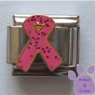 Pink Glitter Ribbon Italian Charm Breast Cancer Awareness
