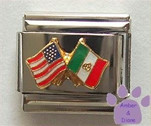 American and Mexican Flags Together Italian Charm US and Mexico