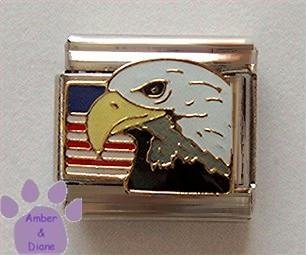 American Eagle with United States Flag Italian Charm