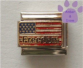American Freedom Flag Italian Charm US Red, White and Blue