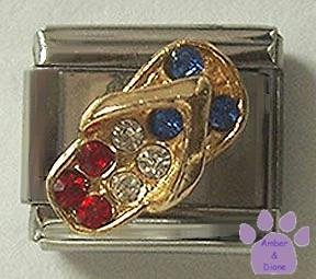 USA Flip Flop Italian Charm with Red, White and Blue Crystals