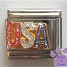 USA Italian Charm with Red, White & Blue glitter lettering