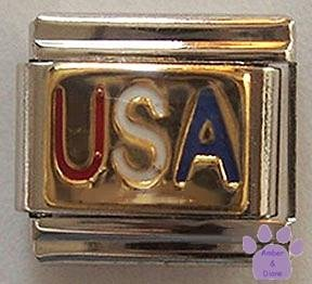 USA Italian Charm with Red, White & Blue lettering on gold
