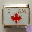 I AM CANADIAN Italian Charm with Red Maple Leaf for Canadian