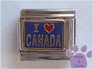 I Love CANADA Italian Charm Red Heart on Blue Background