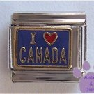 I Love CANADA Italian Charm Red Heart on Blue Background