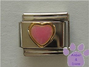 Pink Heart Glows Green Italian Charm Color Changer