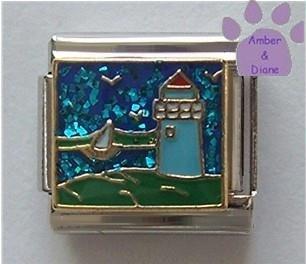 Light House Italian Charm with Blue Glitter Ocean