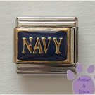NAVY Italian Charm Goldtone on Navy blue background