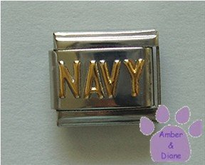 NAVY Italian Charm with Goldtone Lettering