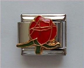 "Beautiful Red Rosebud Italian Charm means ""I love you"""