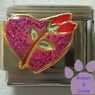 "Pink Glitter Heart with Red Rosebud Enamel Italian Charm ""Love"""