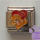 Bear Hugs Italian Charm Teddy Bear on a large red Heart
