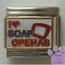 I love (heart) SOAP OPERAS Italian Charm on glitter