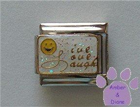 Live Love Laugh Smiley Face Italian charm gold on white glitter