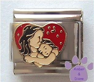 Mom and Daughter in Red Heart Italian Charm
