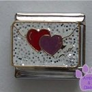 SWAK Hearts on an Envelope Italian Charm with White Glitter Back