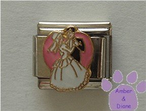 Bride and Groom Italian Charm First Dance on a pink heart