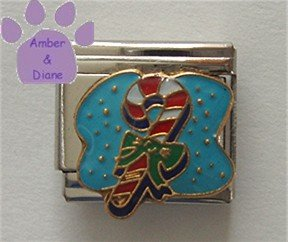 Candy Cane Italian Charm on blue enamel with green bow