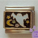 Ghost Flying in a Midnight Sky Italian Charm with Moon and Stars